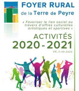 Le livret des activités sportives, culturelles et de loisirs du Foyer Rural Terre de Peyre est enfin disponible ! A consulter en ligne ou à télécharger.