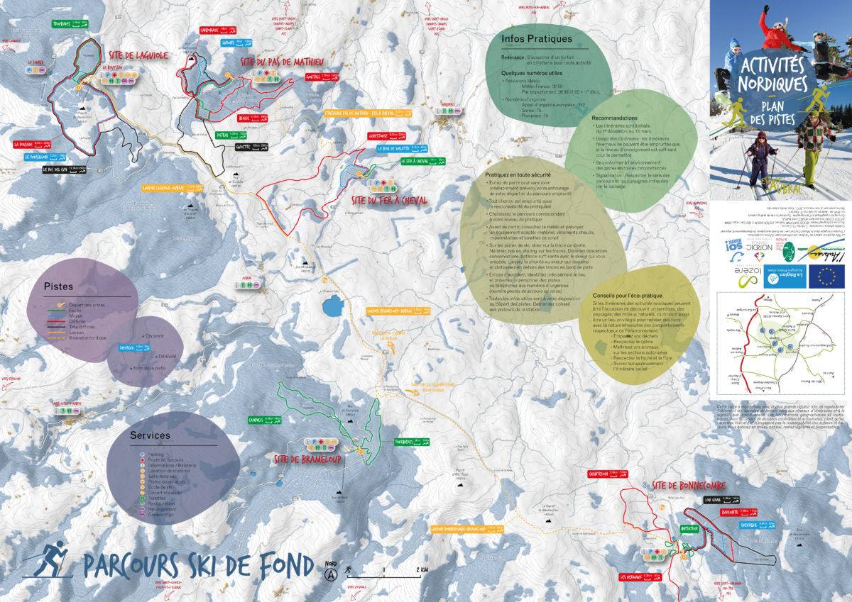 Téléchargez la carte des activités nordiques sur l'Aubrac. Ski de fond, raquettes, snowkite, luge, locations de matériel... Autant d'activités proposées que de stations !